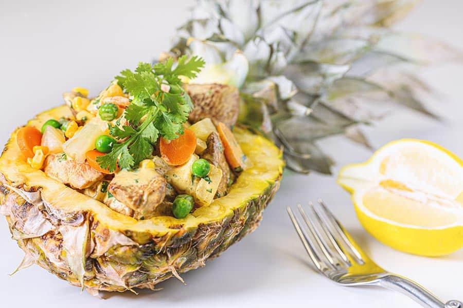 Rezept Hühner Curry Ananas Salat