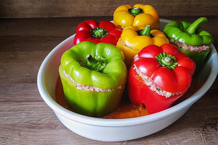 Rezept Gefüllte Paprika für Fleischtiger