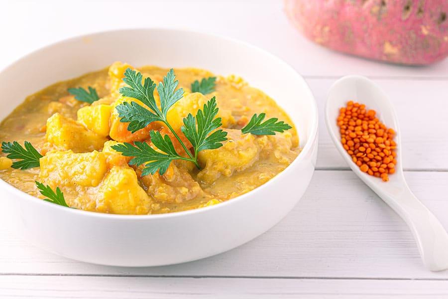 Rezept Süßkartoffel Linsen Suppe mit Kokosmilch