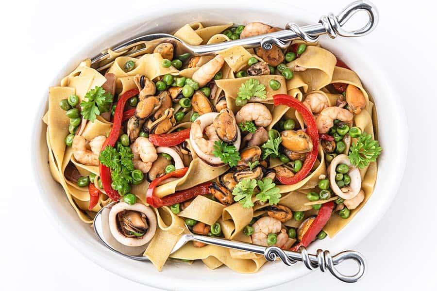 Rezept Meeresfrüchte Pasta mit Erbsen