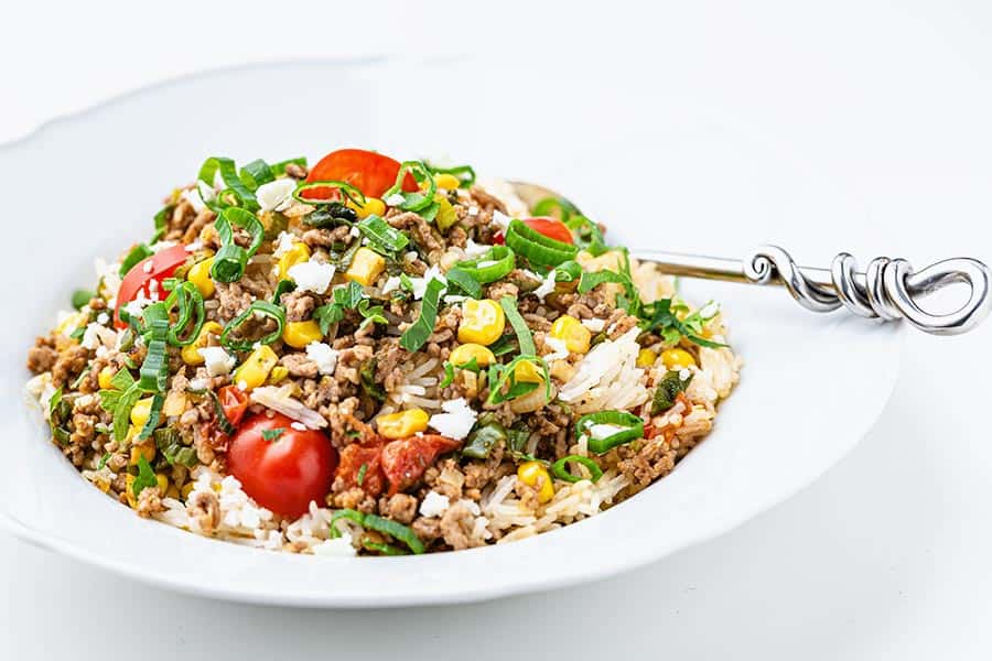 Rezept Reispfanne mit Faschiertem