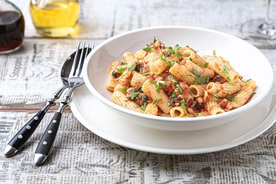 Rezept Pasta mit Bohnen & Speck