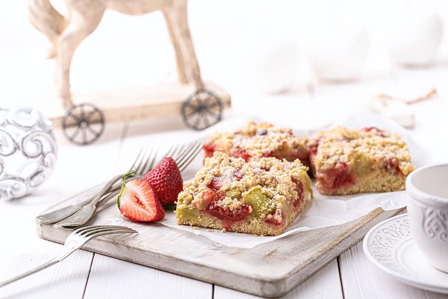 Rezept Erdbeer Rhabarber Blechkuchen