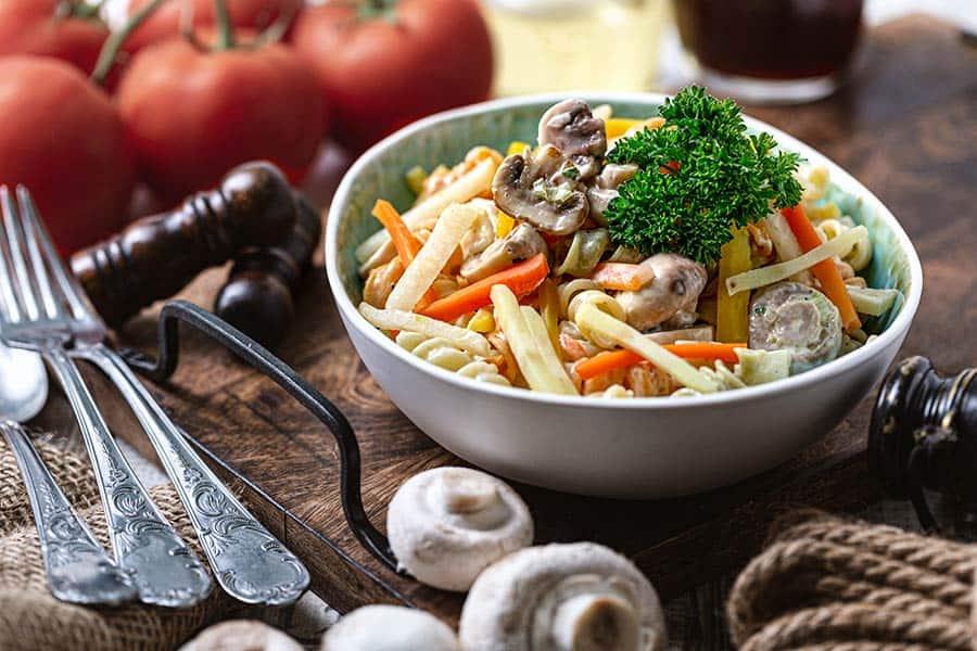 Rezept Nudelsalat mit Pilzen